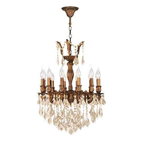 Worldwide Lighting W83336FG20-GT Versailles 12 Light Golden Teak Crystal Chandelier, French Gold Finish, 20