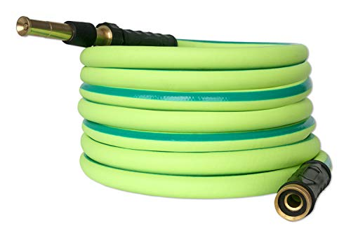 50 ft Solid Rubber Garden Hose with Solid Brass Nozzle 5/8 in | 10 Year Warranty | Kink Free Heavy Duty | Brass Fittings | Commercial Grade