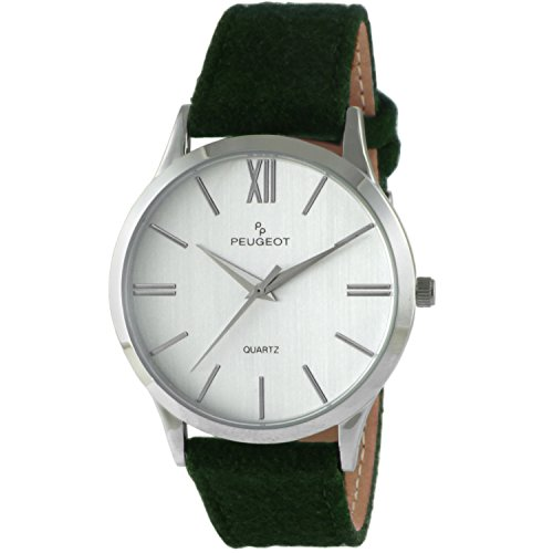 Peugeot 'Slim Case' Quartz Metal and Leather Casual Watch, Color:Green (Model: 2058GR)