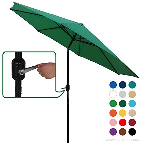 ABCCANOPY Commercial 9-Feet Patio Umbrella with Push Button Tilt and Crank, 8 Steel Ribs, Forest (Canopy Forest Green)