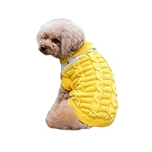 Dog Christmas Sweater Cable Knit Turtleneck Knitwear Puppy Pet Outerwear Clothes Yellow L