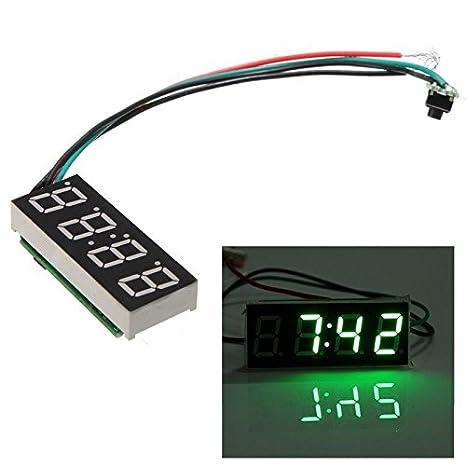 R Orologio Digitale LED Per Auto MOTO Regolabile 24 Ore DC 7-30V verde Orologio Digitale TOOGOO
