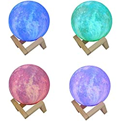 Huaa Child Night Light Projector with Sound,Colorful LED 3D Print Moon Lamp Starry Moon Night Light Lamp with Stand/Remote,Decorative Lamp with Wireless Charger,C,Free Size