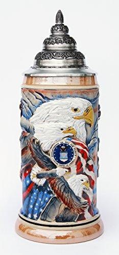 US Air Force Beer Stein by King - Eagle of Freedom German Beer Stein 0.75 Liter by GermanSteins
