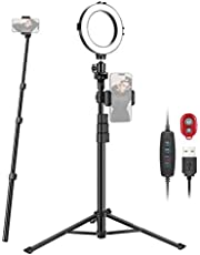 Neewer 6-inch Selfie Ring Light with Tripod Monopod Stand and Phone Holder, Dimmable USB Ringlight for Makeup/Live/YouTube Video Photography, 64 LEDs/2800-6500K/3 Light Modes/10-level Brightness