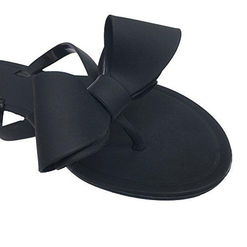 Sandals Women Beach Shoes Rain Flops Flip Bow Jelly Flat Rivets Stud Black xgXwHgrI