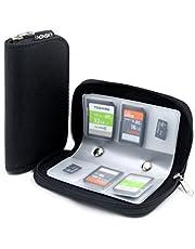 Honsky Memory Card Cases, 22 Slot Zippered SD Micro SD CF SDXC SDHC MMC SecureDigital Memory CompactFlash Cards Carrying Holder Bags Pouch Organizer Keeper Media Storage & Organization, Black