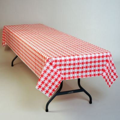 Red Gingham Plastic Tablecloth 100-Foot Roll - Gingham Plastic Banquet Roll