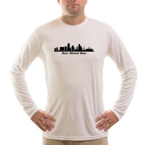 Trail Runner Tech Tee - Split Time Men's Run Miami UPF Long Sleeve Running T-Shirt Medium White