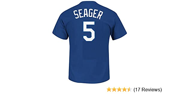 best service 8d6f8 c3dd7 Majestic Corey Seager Youth Los Angeles Dodgers Blue Name and Number Jersey  T-Shirt