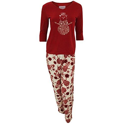 Conjunto de pijama de manga larga y pantalón largo polar para mujer Azul/blanco