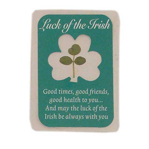 Laminated Luck Of The Irish Emblem With Real Shamrock Design