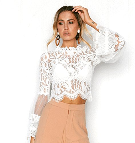 Top Sentao Elegante Donna Estivi Pizzo Casual Lunga Elegante Trasparente Maglietta Tops Manica Bianca Bluse Camicetta 00WwUx
