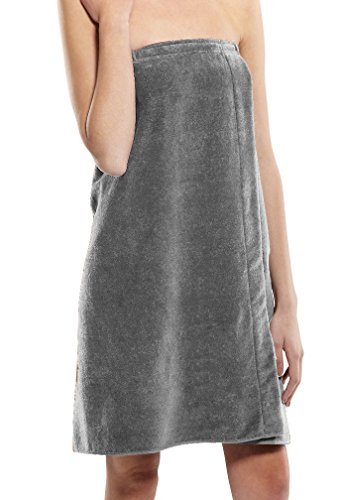 (robesale Womens Shower Wrap Ladies Wrap Towels, Silver, XXL)