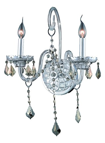 (Royal Cut Smoky Golden Teak Crystal Verona 2-Light Crystal Wall Sconce, Finished in Chrome with Smoky Golden Teak Crystals)