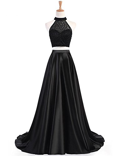 17fd9f53055 Liyuke Halter Beaded Prom Dresses Two Piece Long Formal Evening Gowns for  Women 2018 Black US 2