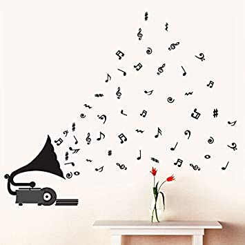 Decals Design U0027Gramophone With Musical Notesu0027 Wall Sticker (PVC Vinyl, 70 Cm Part 88