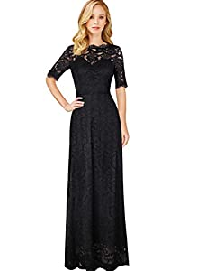 VFSHOW Womens Retro Floral Lace Half Sleeve Formal Wedding Party Maxi Dress