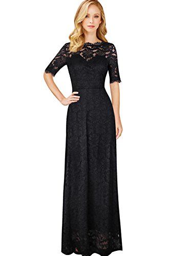 VFSHOW Womens Retro Floral Lace Half Sleeve Formal Wedding Party Maxi Dress 391 BLK (Half Sleeve Floor)
