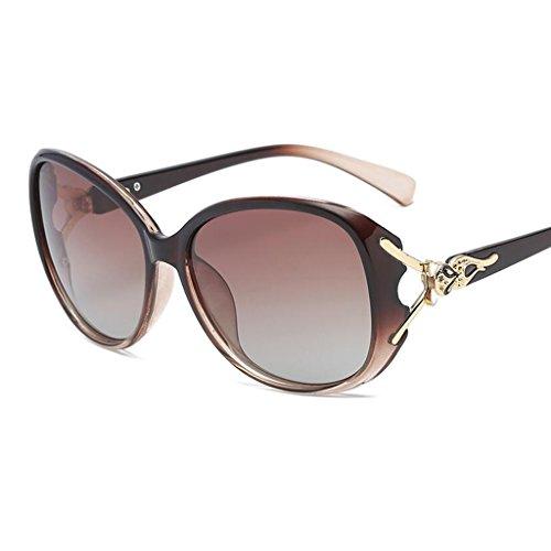 Gafas Color Sol Cara De Larga Redonda Protección Gafas HOME Purple Cara UV QZ Marrón qwFtI8Pw