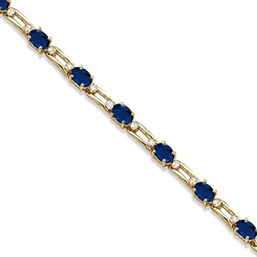 Colored Sapphire Diamond Bracelet - Diamond and Oval Blue Sapphire Link Bracelet 14k Yellow Gold (7.50ctw)
