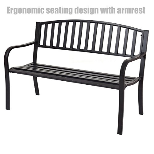 Garden Patio Steel Bench Outdoor Yard Furniture Deck Park Porch Black - Ergonomic Design Seating With Armrest - Garden Nj Outlet Jersey