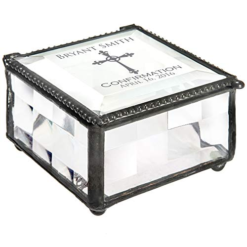 - J Devlin Box 333 EB221 Personalized Confirmation Keepsake Box Engraved Glass Gift Christian Catholic Religious