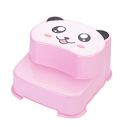 Mokylor 2 Step Stool - For kids and Adults - Anti-skid Foot Board and Pad - Cartoon Happy Bear - Pink by Mokylor