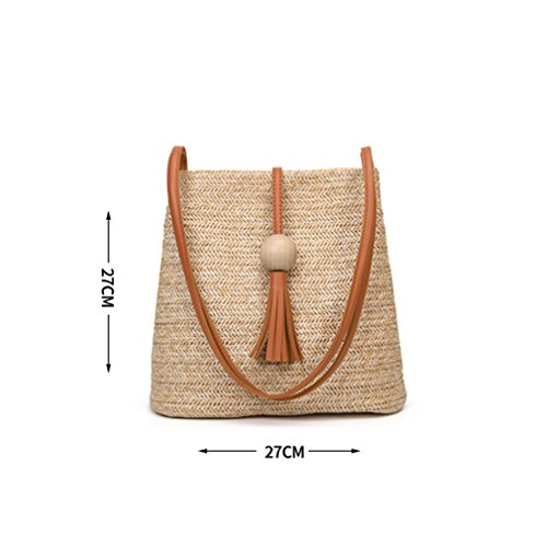 Bucket Woven Tote Amuele Bag Grass Bags Weave Rattan HandKnitting Brown Bag Straw Beach wZI6q1IBX