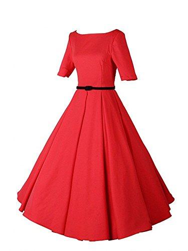 HongyuTing Women Vintage 1950s Rockabilly Sleeveless Knee Length Party Dresses,XX-Large,Red