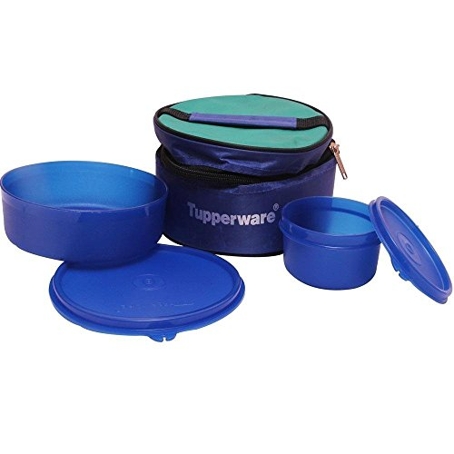 Tp-525-t192 Tupperware Classic Lunch Box (Including Bag) With Tropical Cup & Large Handy Bowl For Packing A Complete Meal