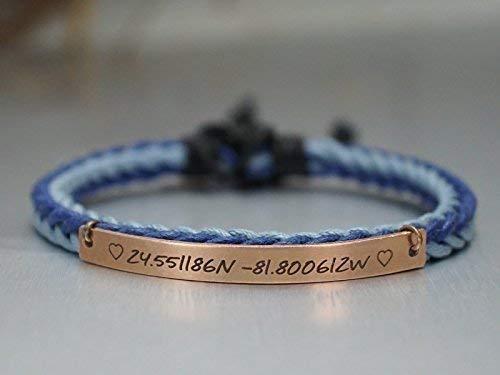 Custom Coordinates Bracelet for Her, latitude longitude, Sweetie Heart Engraved, Blue Cord, Womens Copper Wristband