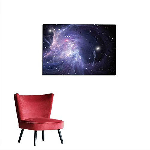kungfu Decoration Wall Sticker Decals Outer Space,Space Nebula in Galaxy Complex Energy Movements Cosmos Theme Inspiring Print,Navy Purple Art Poster W23.6 x L15.7 ()
