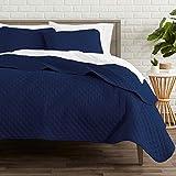 Bare Home Premium 2 Piece Coverlet Set - Twin/Twin Extra Long Size - Diamond Stitched - Ultra-Soft Luxurious Lightweight All Season Bedspread (Twin/Twin XL, Dark Blue)