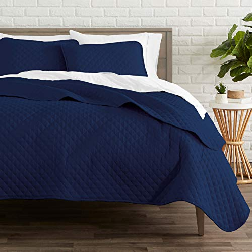 Premium Diamond Stitched 2 Piece Coverlet Set - Ultra-Soft Luxurious Lightweight All Season Bedspread (Twin/Twin XL, Dark Blue)