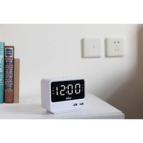 ahiya Radio FM Number Alarm Volume 3 Dimming Light Hours 2 Backup Compact Living