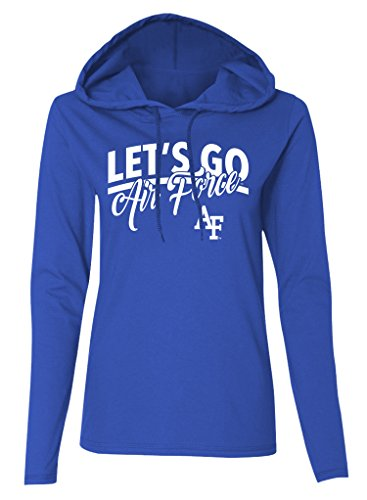 T-shirt Long Air Sleeve Force (NCAA Air Force Falcons Women's Long Sleeve Hooded T-Shirt, Royal Blue, XX-Large)