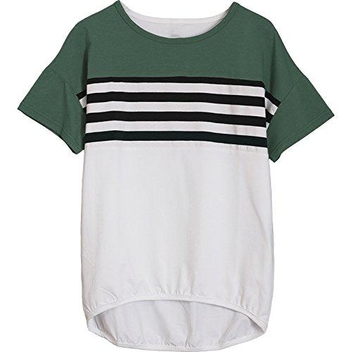 MoMo T-shirt à manches courtes femmes été lâche mince tops court avant Batman T-shirt à manches longues,vert