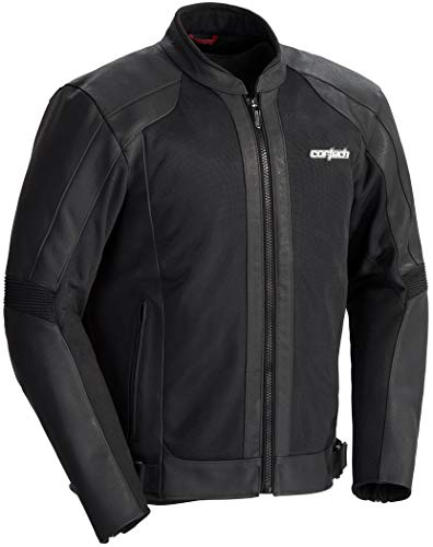 Cortech Men's Piuma Leather Jacket (Black, Large)