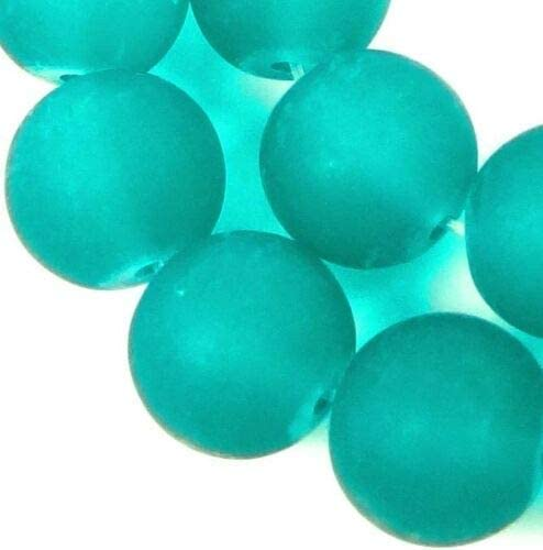 Matte 10mm Frosted Sea Glass Round Beads Sea Green 25 Beads
