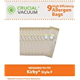 9 Type F Allergen Paper Bags for Kirby Ultimate G & Sentria Vacuums; Compare to Kirby Part No. 204808; Designed & Engineered by Think Crucial
