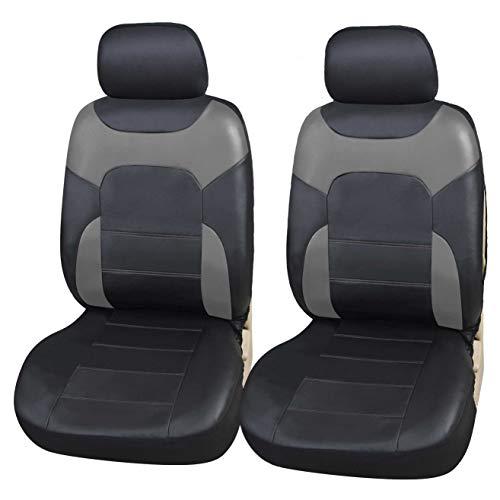 Upgrade4cars Autostoel-Hoezen Voorstoelen Leer Look Universeel Zwart Grijs | Universele Autostoel-Hoes voor…
