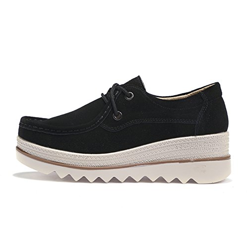 Pictures of HKR Women Lace Up Suede Platform Sneakers 8
