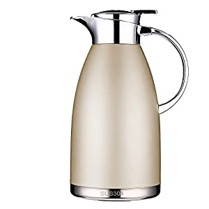 Thermal Carafes Stainless Steel Coffee Carafe 64 Ounce Thermos Large Travel Bottle Vacuum Insulated-Gold