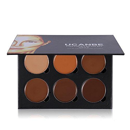 Ucanbe Contour Kit 6 Colors Cream Contouring Concealer Palette Highlighting Shading Concealing Makeup Pallet for Dark Skin (Eye Bronze Concealer)