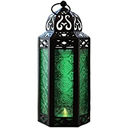 Green Glass Moroccan Style Candle Lantern - Great for Patio, Indoors/Outdoors, Events, Parties and Weddings