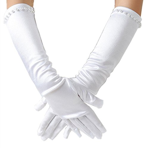 Girls Classic White Wedding Dress beading Gloves, White, L (8-12years)