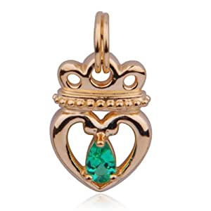 18k Gold Plated Sterling Silver Lab Created Emerald Queen of Hearts Charm