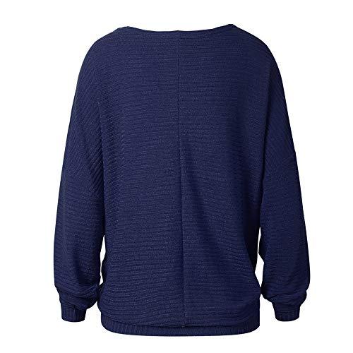 BaZhaHei-Jersey, Manga de murciélago Suelta Moda otoño e Invierno suéter de Punto Camisetas, Cardigan para Mujer Suelto y cómodo Blusa de Mujer Sudadera de ...