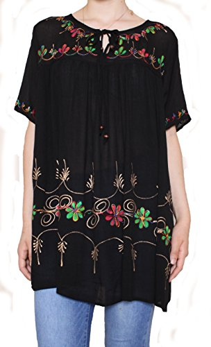 Sacred Threads Hand Painted Tunic in 6 Colors – One Size #218352 Black